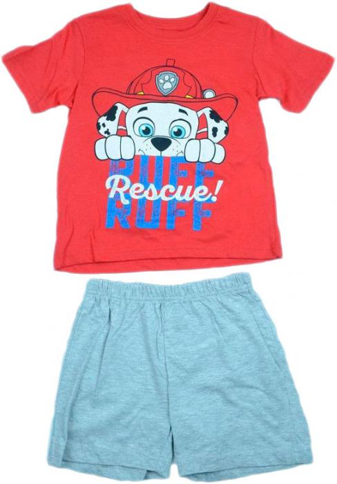 Pijama scurta Paw Patrol rosu/gri 110 cm , 5 ani 0