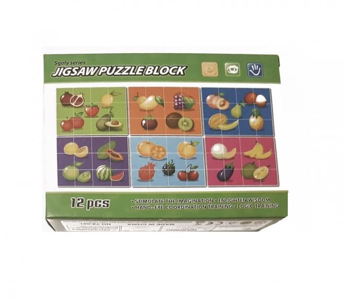 Puzzle Cuburi 6 imagini 12 piese Fructe 0