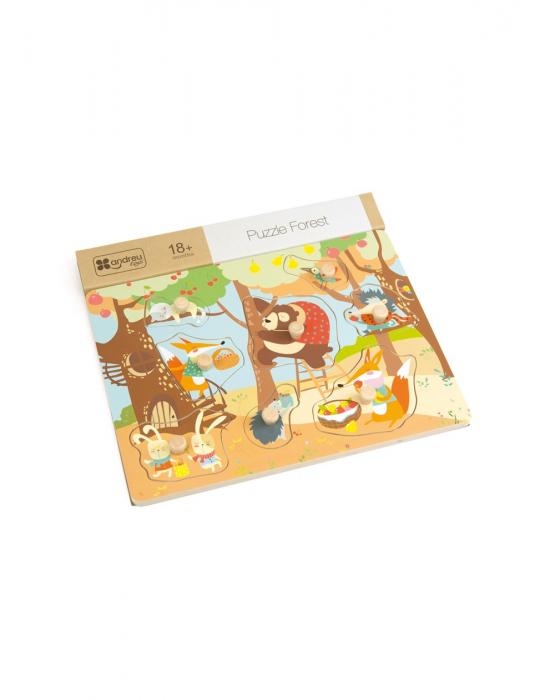 Puzzle din lemn incastru Padure, 8 piese [0]