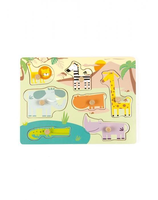 Puzzle din lemn incastru Safari, 7 piese [0]