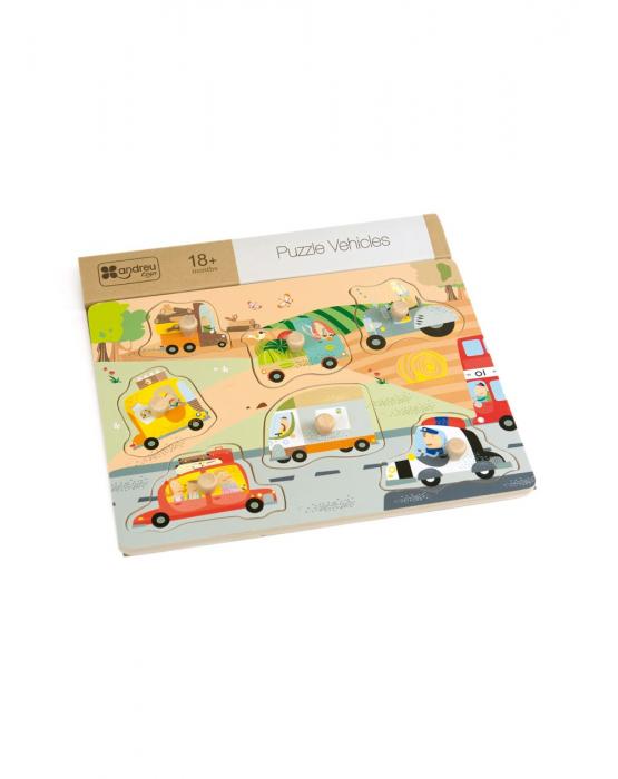Puzzle din lemn incastru Vehicule, 7 piese [0]