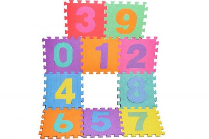 Covor puzzle din spuma, 10 piese cu cifre, 29 x 29 cm [0]