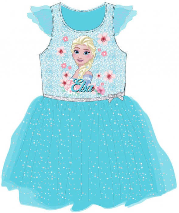 Rochie Frozen Elsa cu maneca scurta cu flori si sclipici [0]