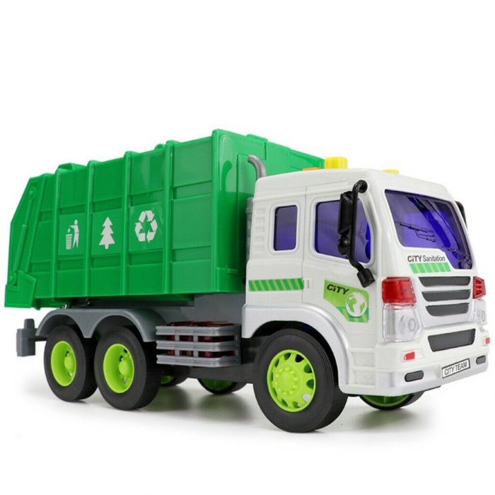Masina de gunoi cu sunet si lumini verde 23x16x10 cm 2