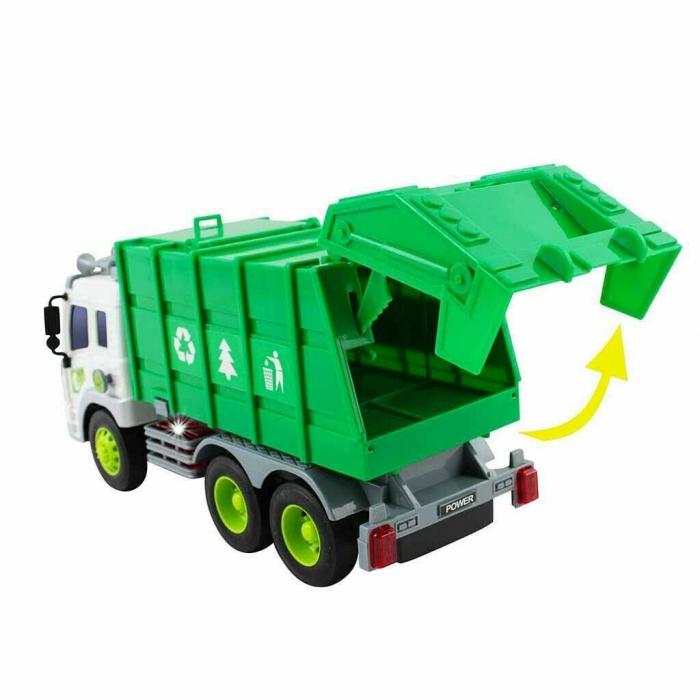 Masina de gunoi cu sunet si lumini verde 23x16x10 cm 4