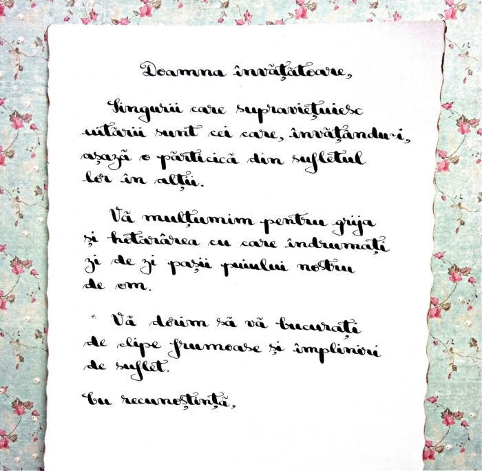 Scrisoare cadou pentru doamna invatatoare - papirus in sticla (model 1) [1]