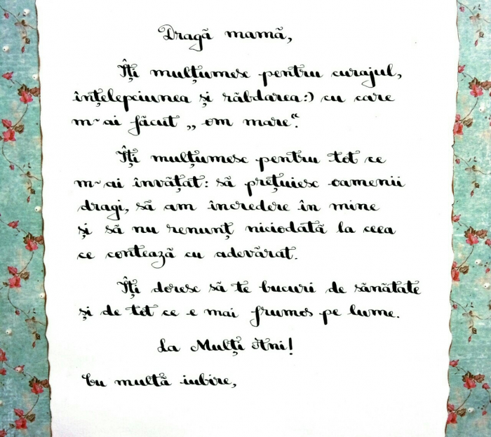 Scrisoare cadou pentru mama - papirus in sticla (model 20) [1]