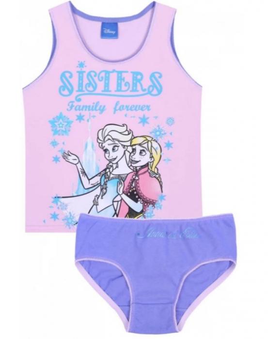 Set 2 piese, Frozen Anna si Elsa Sisters forever,maieu+chilot [0]