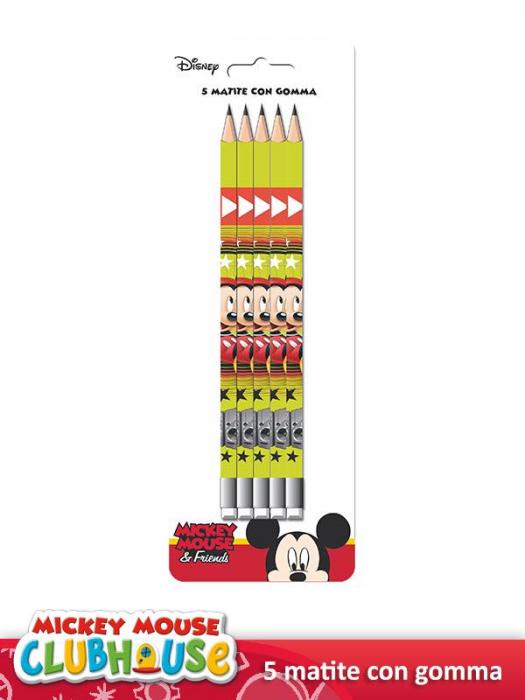 Set 5 creioane HB cu guma de sters Mickey Mouse [1]