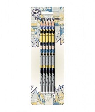 Set 5 creioane HB cu guma de sters Batman 0