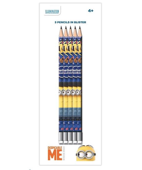 Set 5 creioane HB cu guma de sters Minions [0]