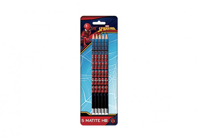 Set 5 creioane HB cu guma de sters Spiderman [0]
