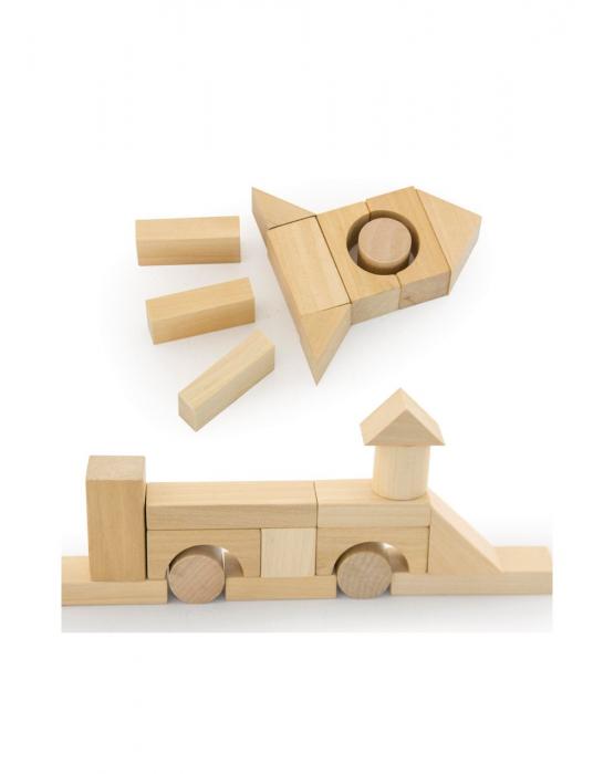Set pentru construit, 50 piese lemn natur [8]