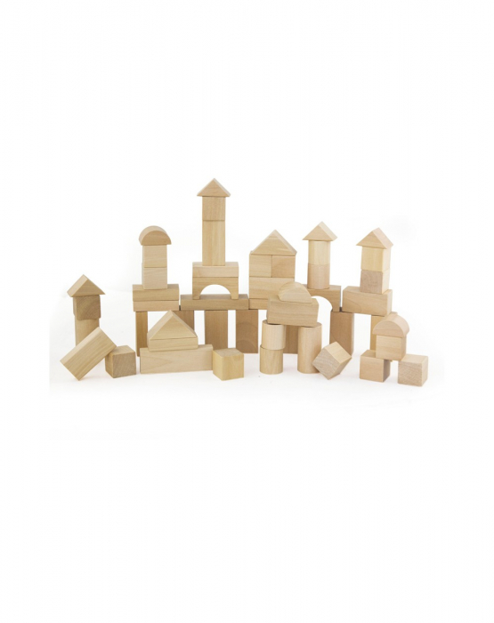 Set pentru construit, 50 piese lemn natur [2]
