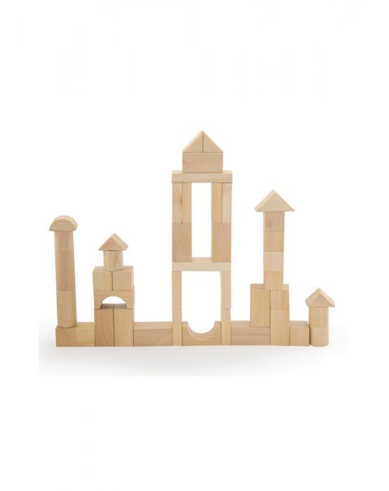 Set pentru construit, 50 piese lemn natur [6]