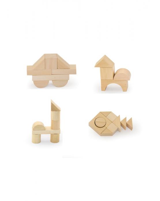 Set pentru construit, 50 piese lemn natur [5]