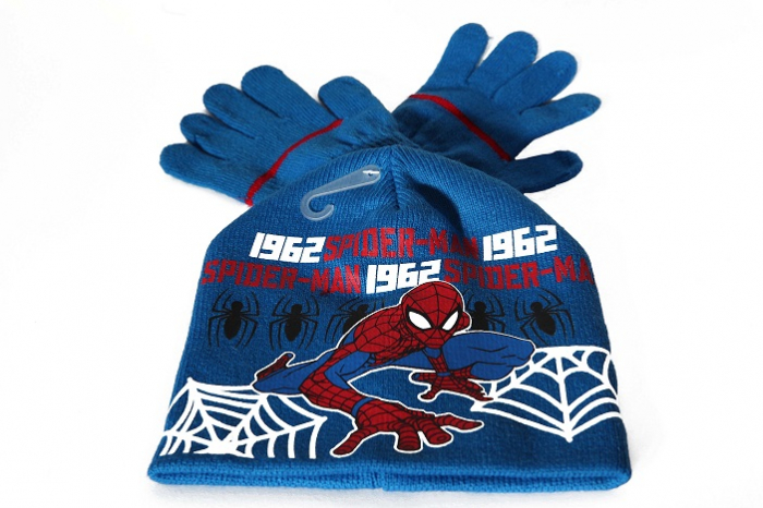 Set caciula+manusi Spiderman, albastru 52 cm [0]