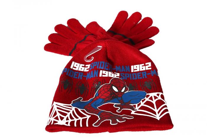 Set caciula+manusi Spiderman, rosu 52 cm 0