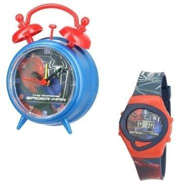 Set ceas birou Spiderman desteptator 10 cm + ceas de mana 0