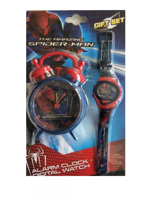Set ceas birou Spiderman desteptator 10 cm + ceas de mana [0]