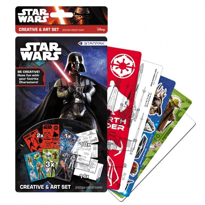 Set creativ Star Wars cu sabloane si stickere 30 piese 0
