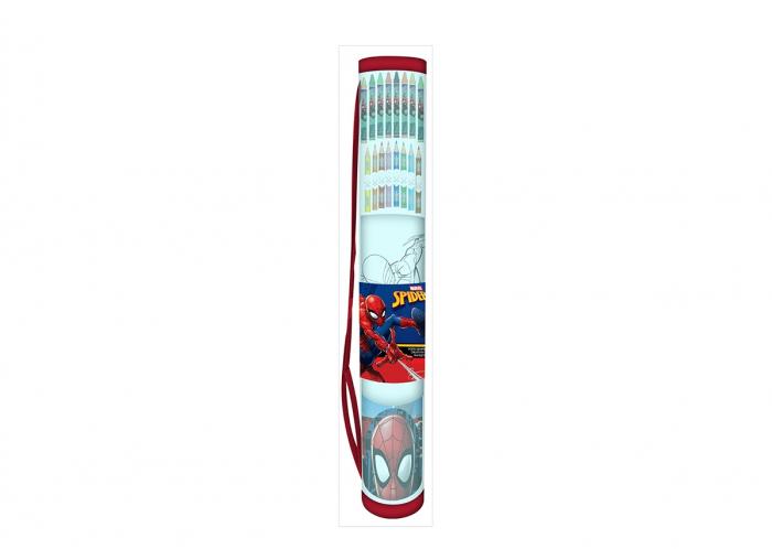 Set creioane colorate Spiderman si suport 0