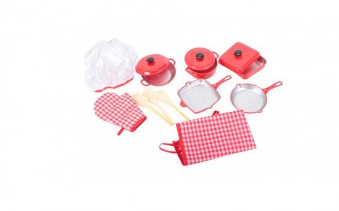 Set de bucatarie pentru copii cu ustensile, manusa, sort si boneta 11 piese [0]