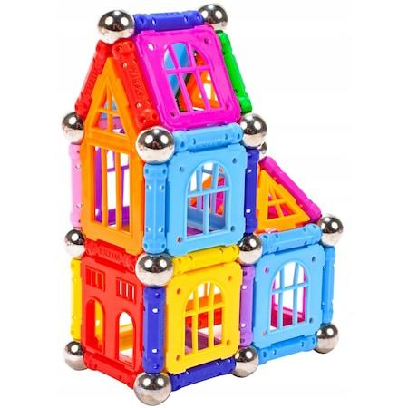 Set de constructie 3D magnetic Castel 120 piese, multicolor [0]