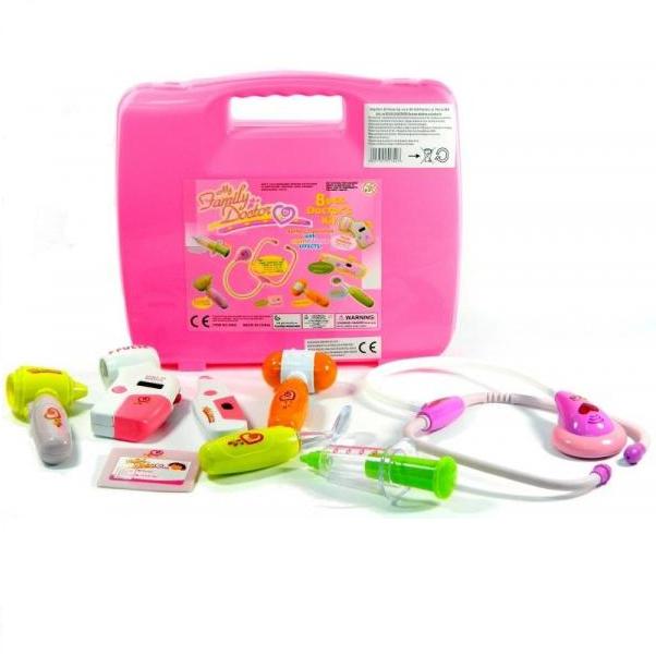 Set de joaca trusa medicala cu sunet si lumini, 9 piese  roz [2]