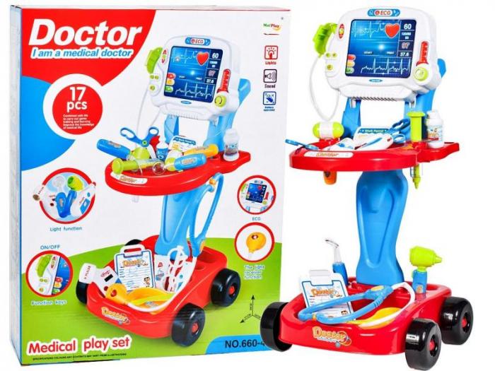 Set medical Ecograf portabil cu sunete si lumini, accesorii incluse, Albastru [2]