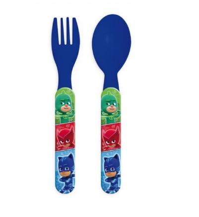 Set mic dejun 2 tacamuri plastic PJ Masks albastru [0]