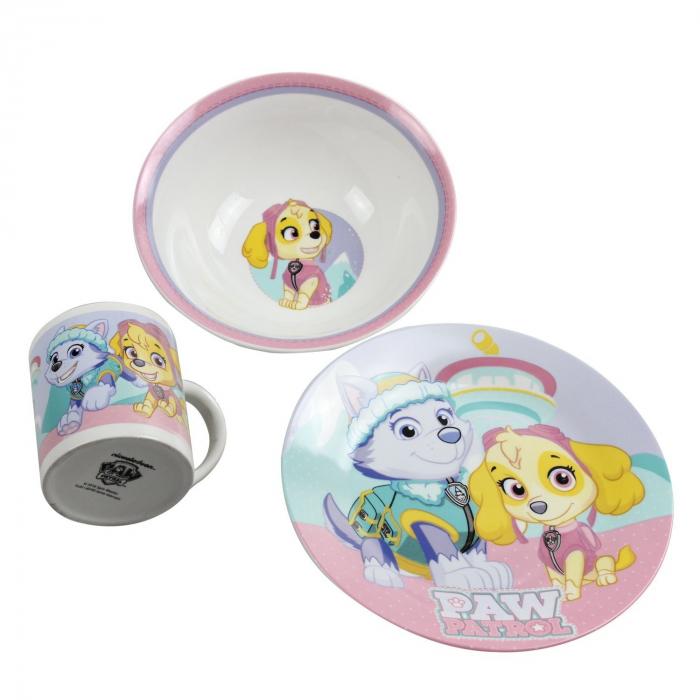 Set mic dejun 3 piese ceramica Paw Patrol roz [0]