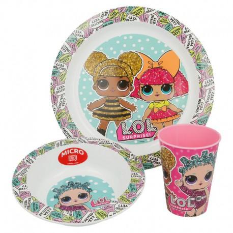 Set mic dejun plastic 3 piese LOL Surprise 0