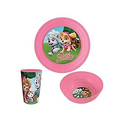 Set mic dejun plastic 3 piese Paw Patrol roz [0]