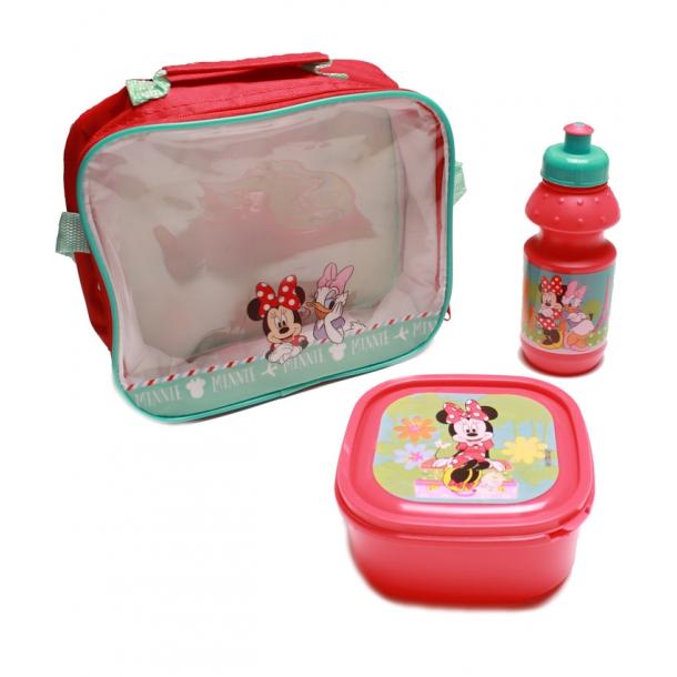 Set pranz Minnie geanta + cutie + sticla plastic 400 ml rosu 1
