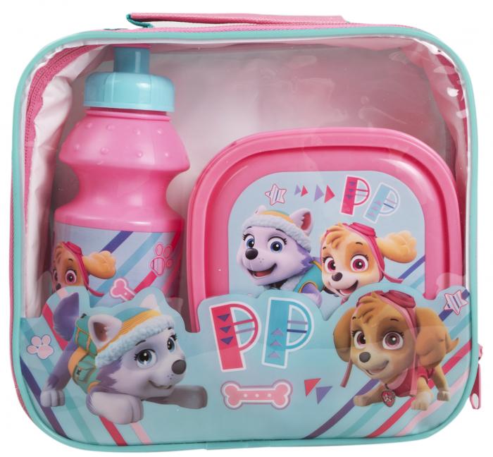 Set pranz Paw Patrol geanta + cutie + sticla plastic 400 ml roz 3