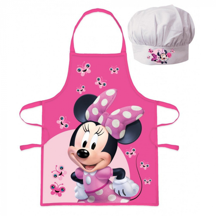 Set sort si boneta de bucatar Minnie Mouse fluturi [0]