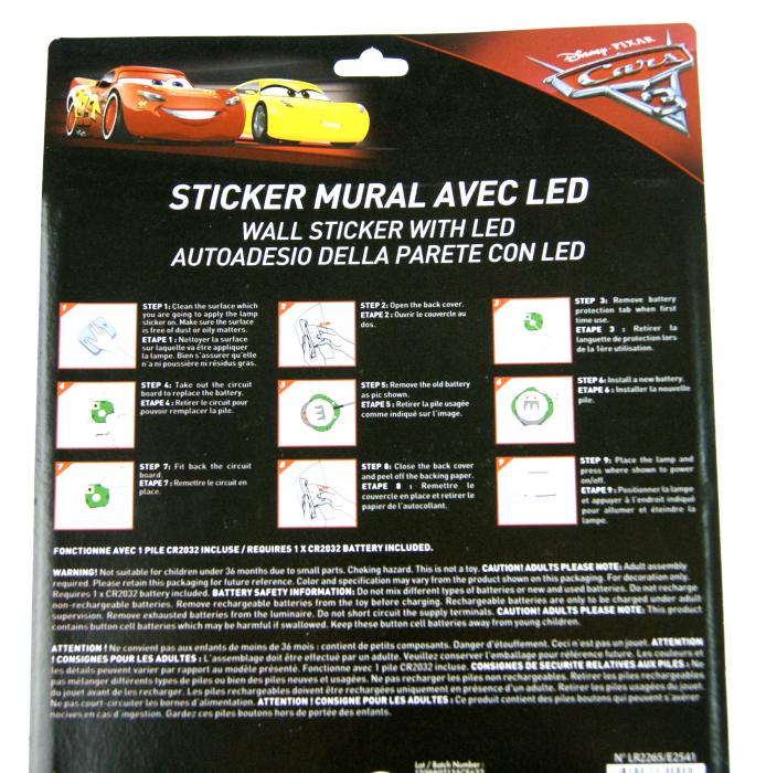 Sticker de perete cu led Cars McQueen, SunCity [2]