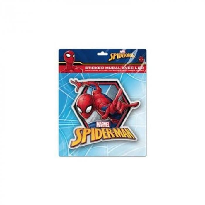 Sticker de perete cu led Spiderman SunCity, 20 x 20 cm, rosu 0
