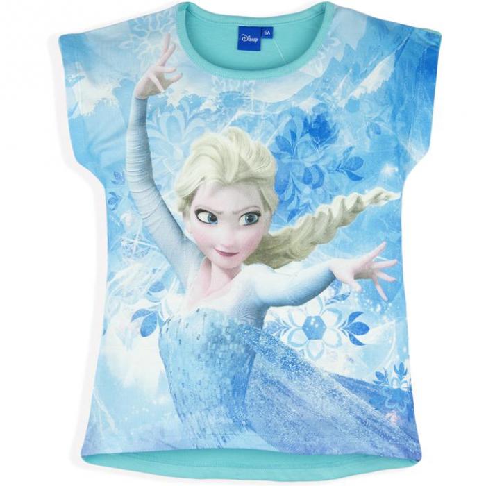 Tricou maneca scurta Frozen,cu stele, albastru,4 ani 0