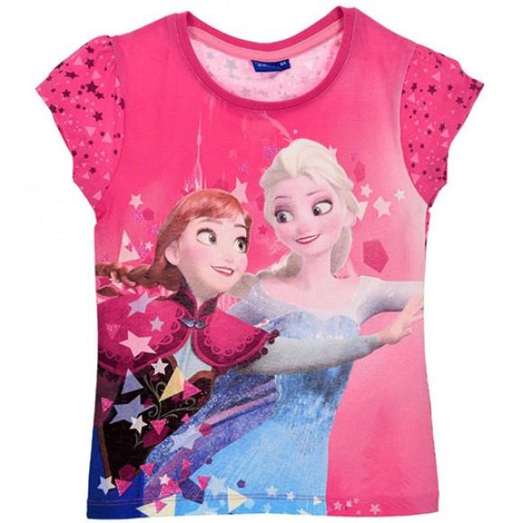 Tricou maneca scurta Frozen,cu stele, fucsia,5 ani 0