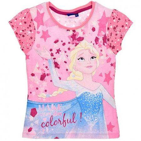 Tricou maneca scurta Frozen,cu stele, roz,5 ani 0