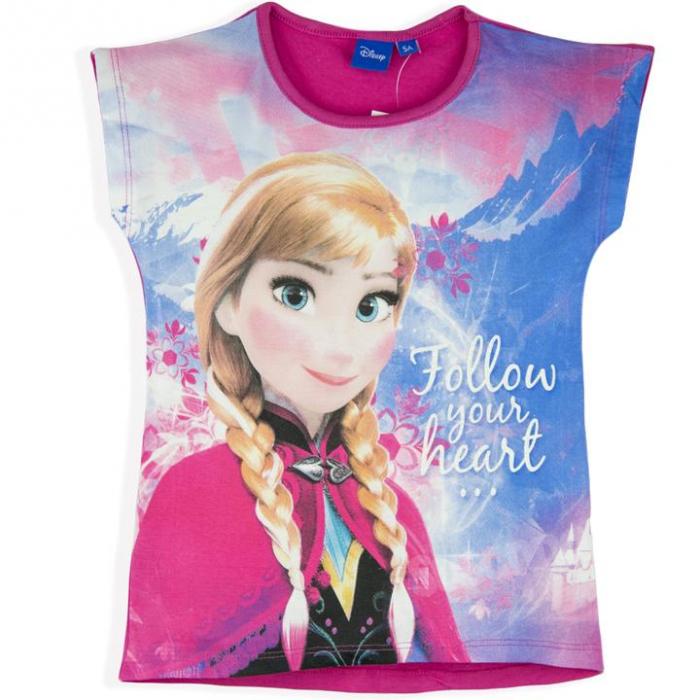"""Tricou maneca scurta Frozen """"follow"""" fucsia,8 ani 0"""