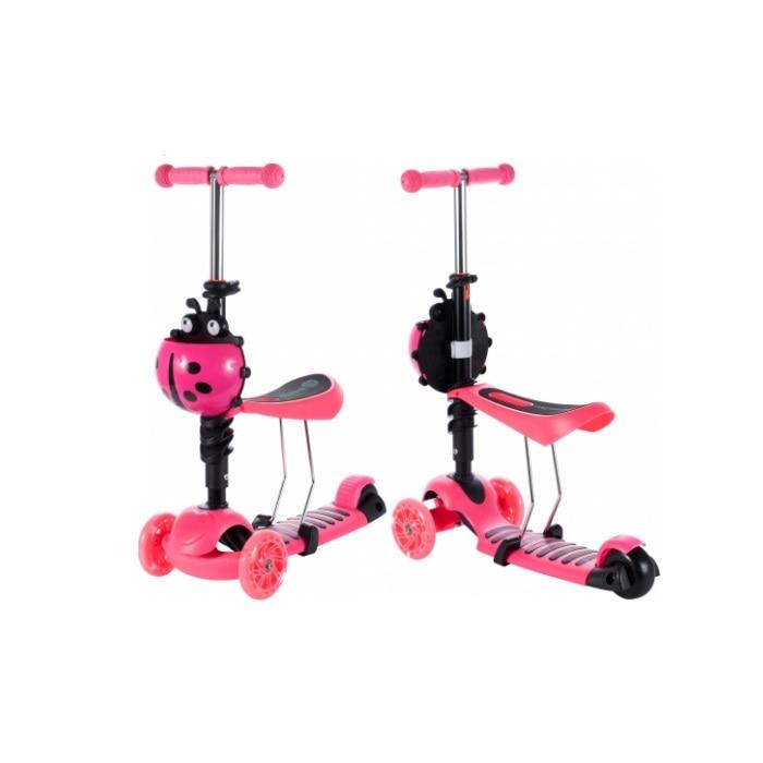 Trotineta pentru copii, 2 in 1 cu scaunel si roti luminoase, Roz [3]