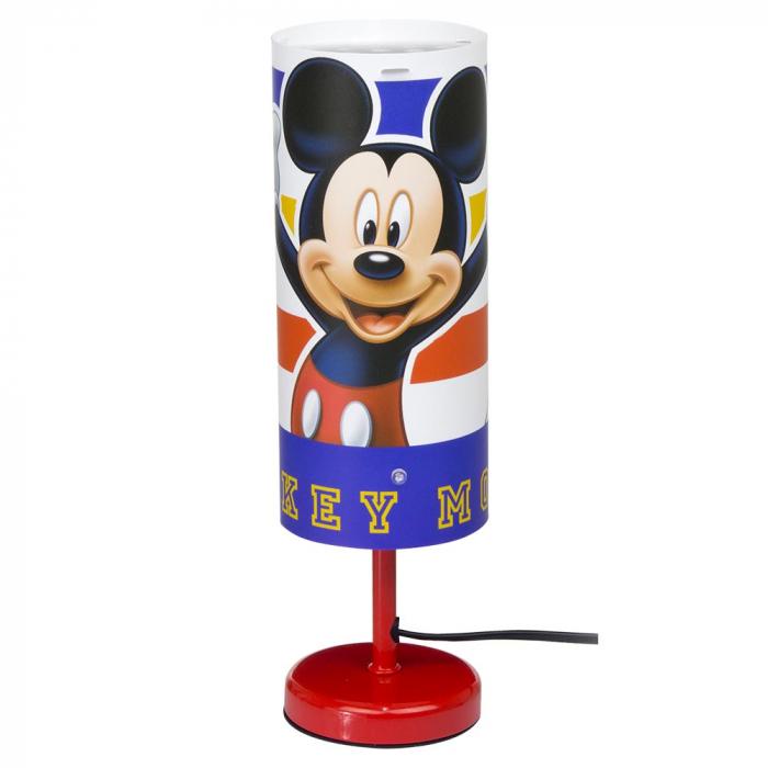 Veioza lampa cilindru noptiera Mickey Mouse rosu 29 cm [0]