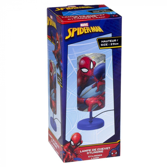 Veioza lampa cilindru noptiera Spiderman albastru 29 cm 1