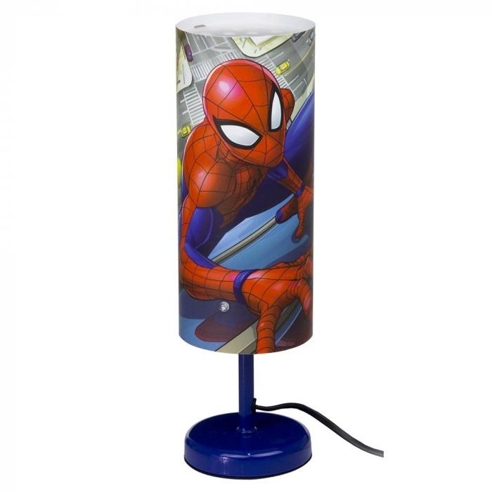 Veioza lampa cilindru noptiera Spiderman albastru 29 cm 0