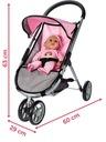 Carucior pentru papusi Little Princess Pink Grey [2]
