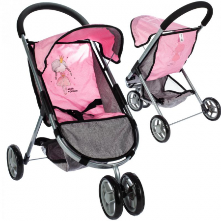 Carucior pentru papusi Little Princess Pink Grey [0]
