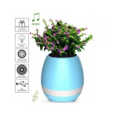 Boxa bluetooth wireless ghiveci flori bleu1